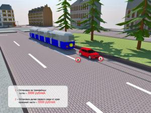 Стоянка напротив трамвайной остановки можно или