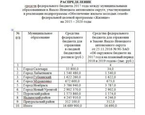 Список очереди на субсидию по программе молодая семья